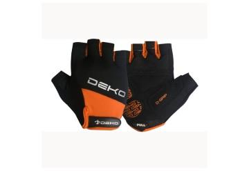 Guanti ciclista NET ne/arancio DEKO